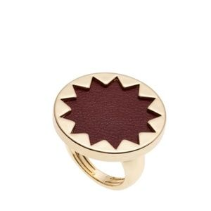 House of Harlow | Leather Sunburst Ring in Sangria
